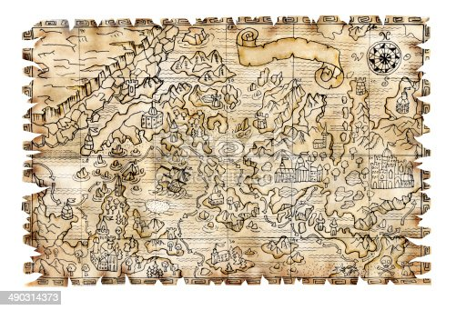 istock Pirate map isolated 490314373