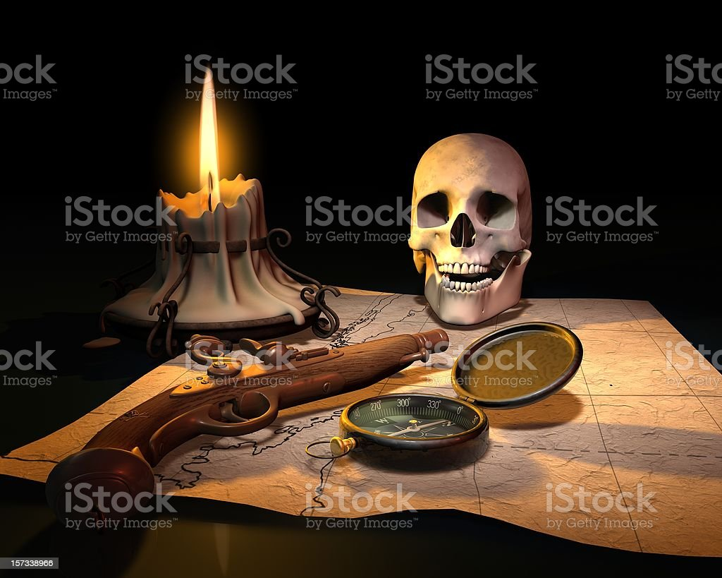 Pirate Map with Skull and Pistol royalty-free stock photo