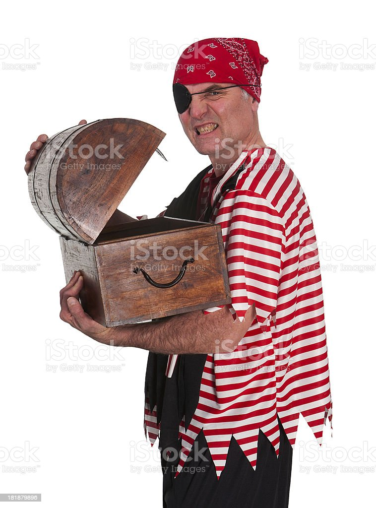 Pirate opening treasure chest royalty-free stock photo