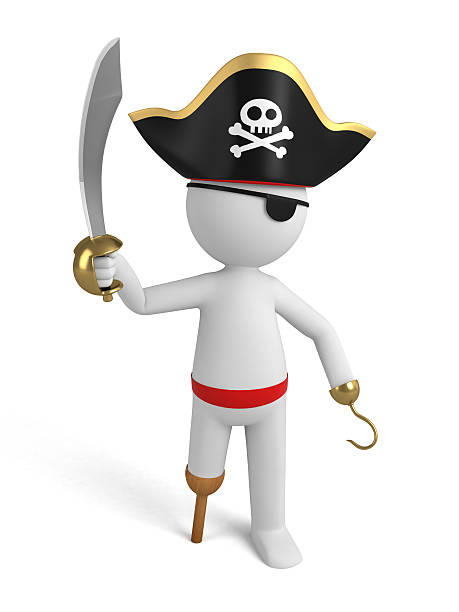 pirate A 3d pirate with a sword. 3d image. Isolated white background costume eye patch stock pictures, royalty-free photos & images