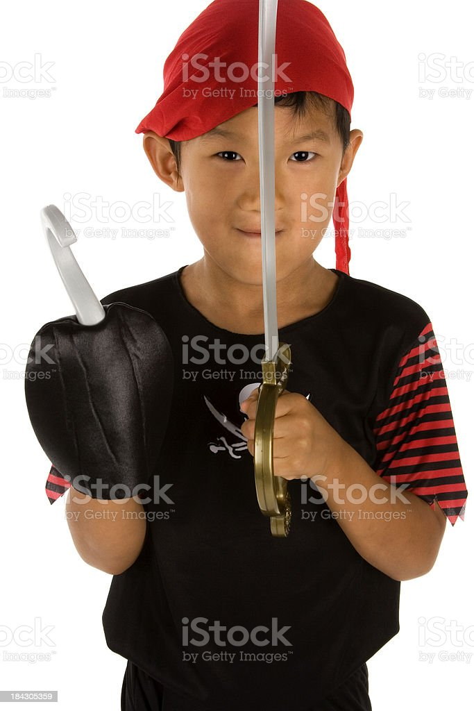 Pirate playing with sword and hook hand royalty-free stock photo