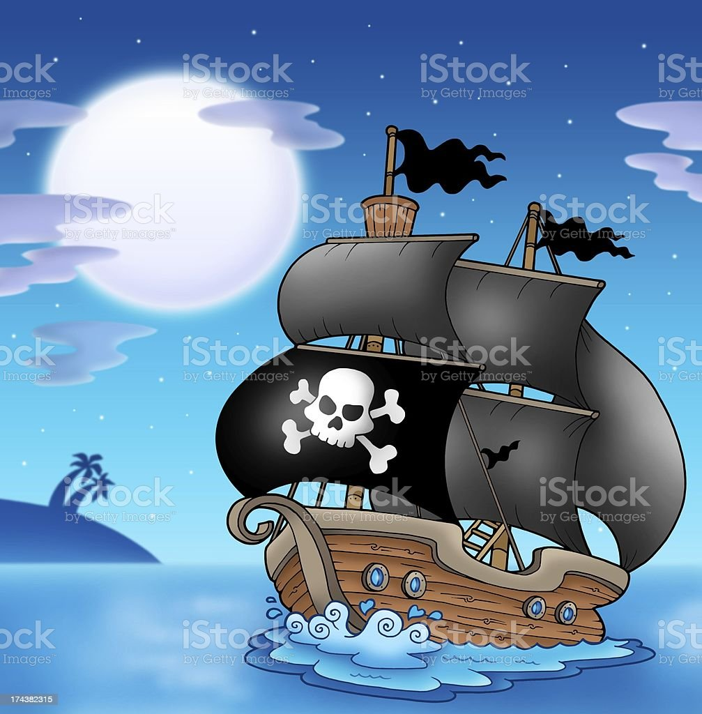 Pirate sailboat with Moon stock photo