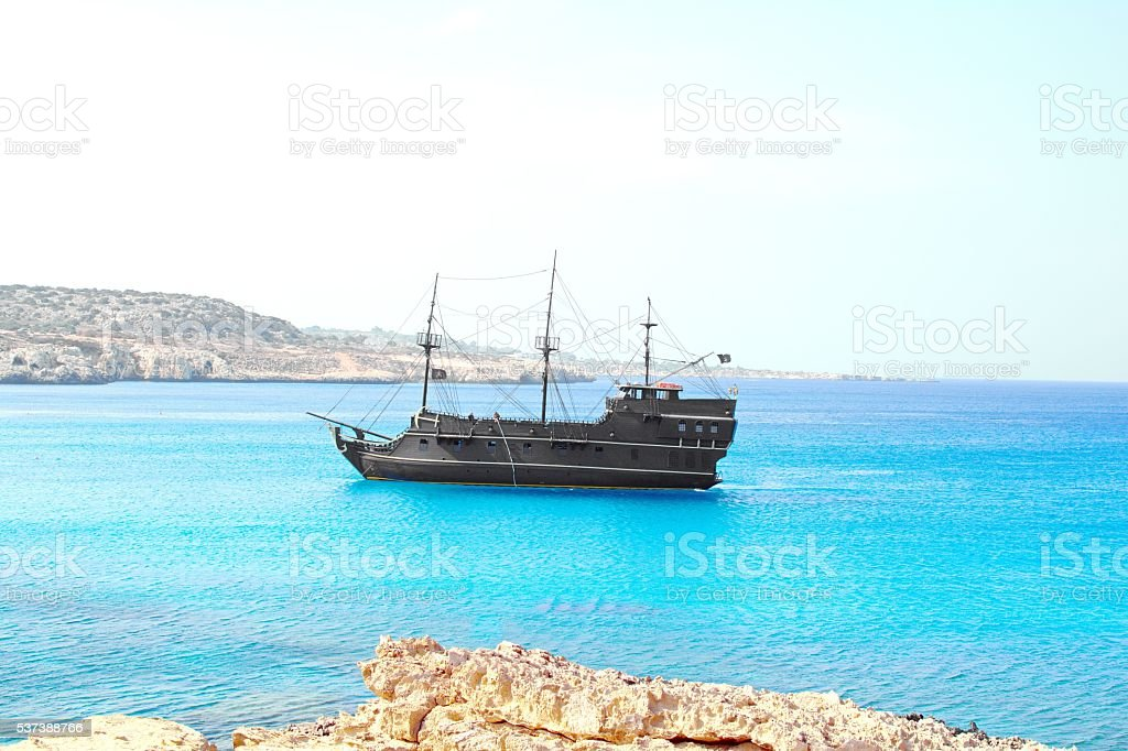pirate sailing ship stock photo