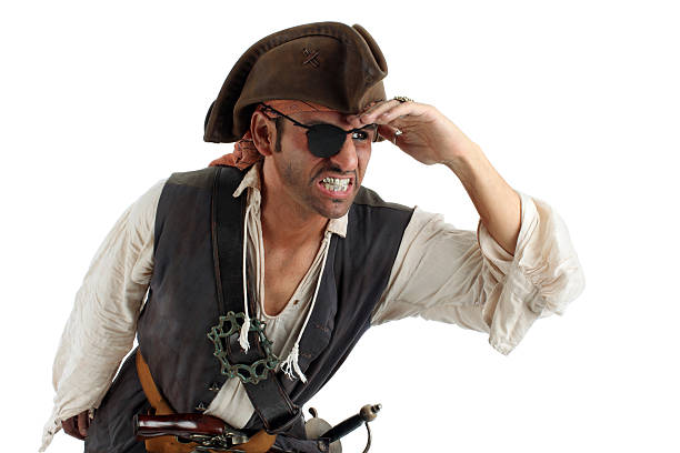 Pirate Searching Pirate looking and searching. Isolated on white. pirate criminal stock pictures, royalty-free photos & images