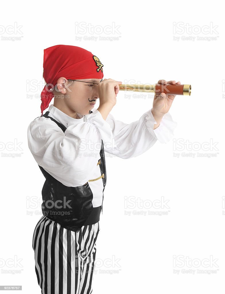 Pirate searching using a spotting scope royalty-free stock photo