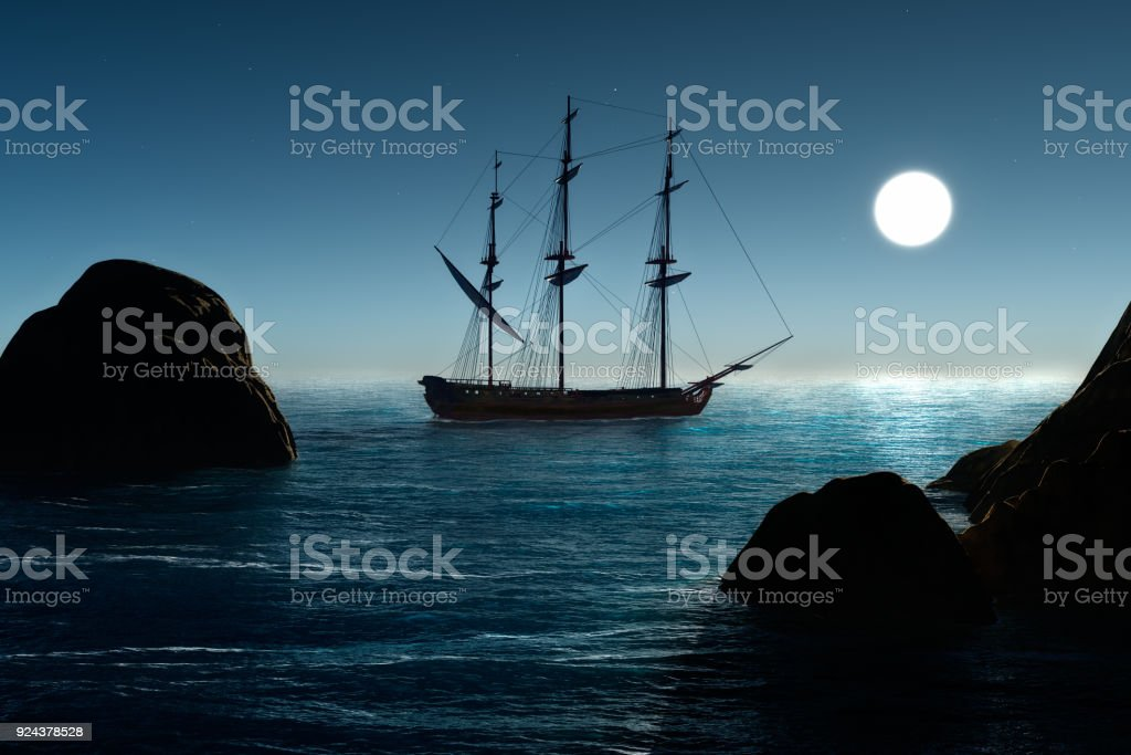 Pirate ship and sea stock photo