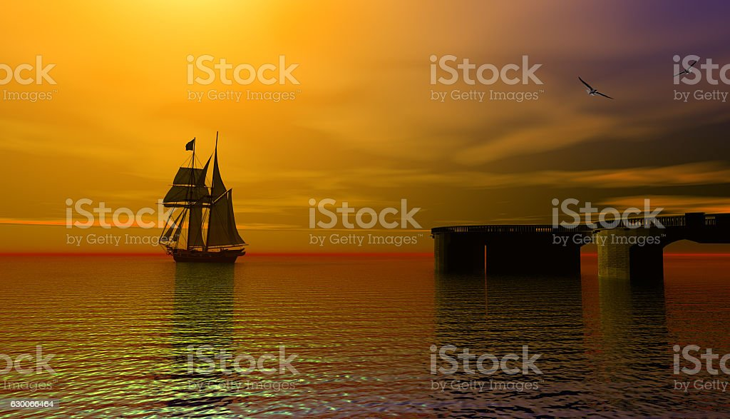 pirate ship at sunset stock photo