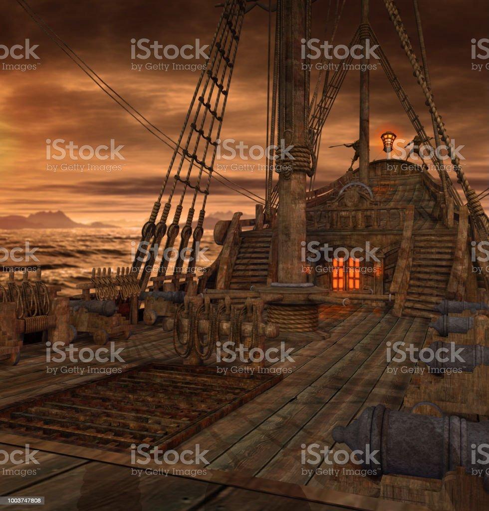 Cubierta de la nave del pirata con escaleras y cañones - foto de stock