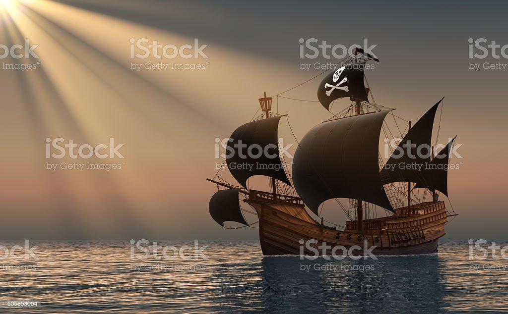 Barco pirata en rayos del sol - foto de stock