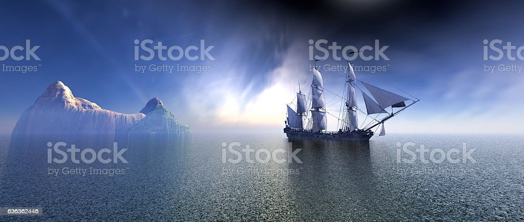 Pirate Ship In The blue Ocean - foto de stock