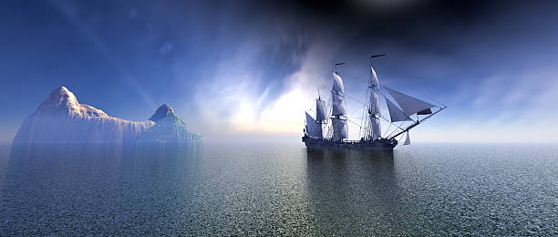 pirate ship in the blue ocean - digital surfer stock-fotos und bilder