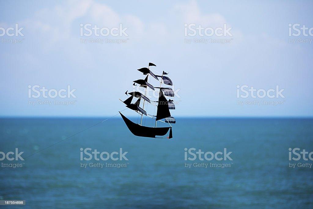 pirate ship kite stock photo