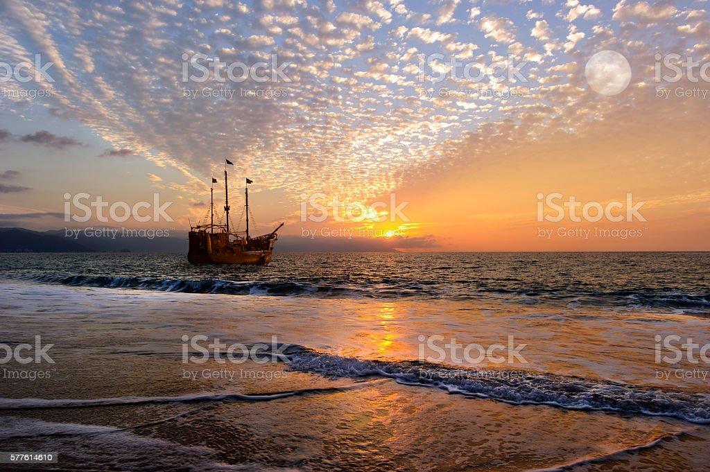 Pirate Ship Moon stock photo