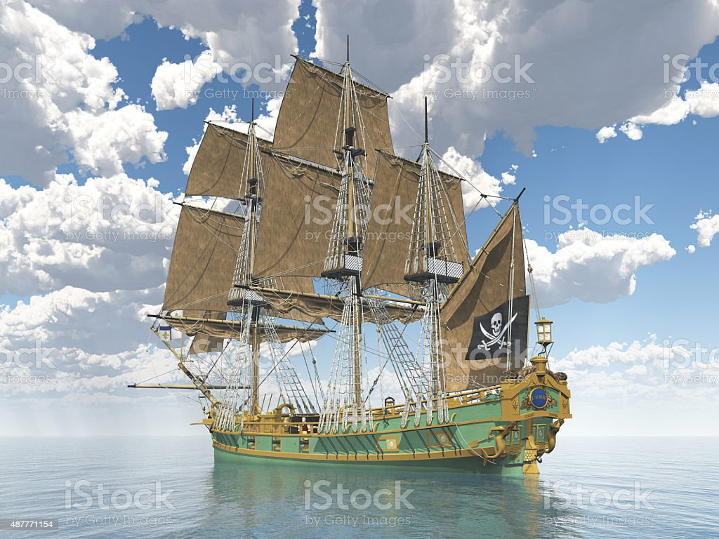 Pirate ship of the 18th century stock photo