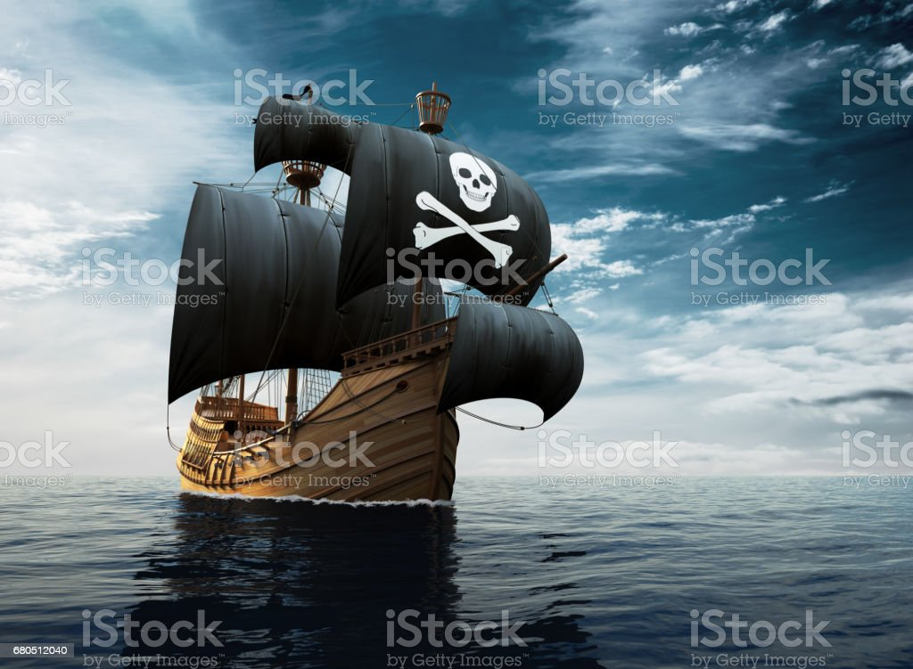 Barco pirata en alta mar - foto de stock