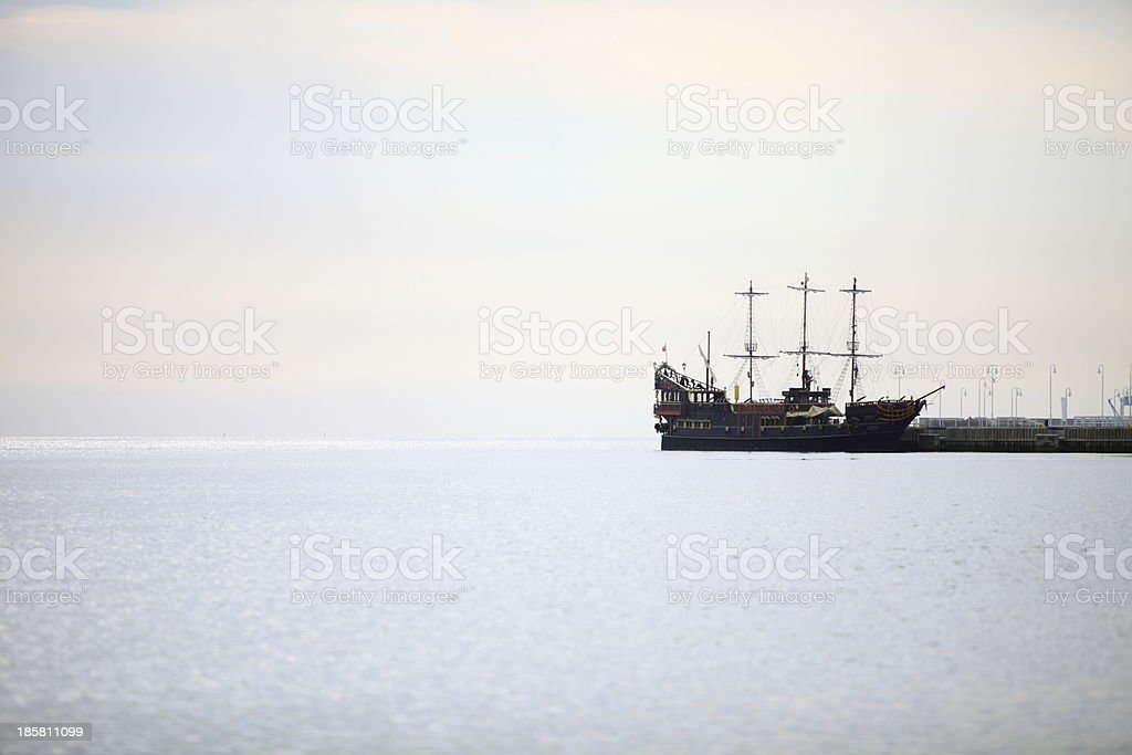 pirate ship on the water of Baltic Sea royalty-free stock photo