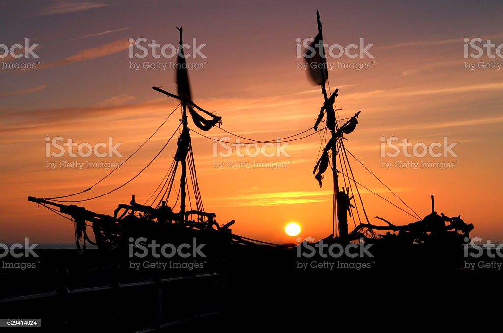 Pirate Ship Silhouette - Royalty-free Back Lit Stock Photo