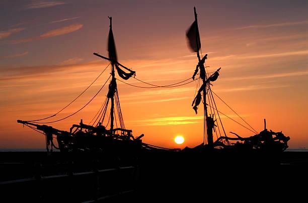 Pirate Ship Silhouette stock photo