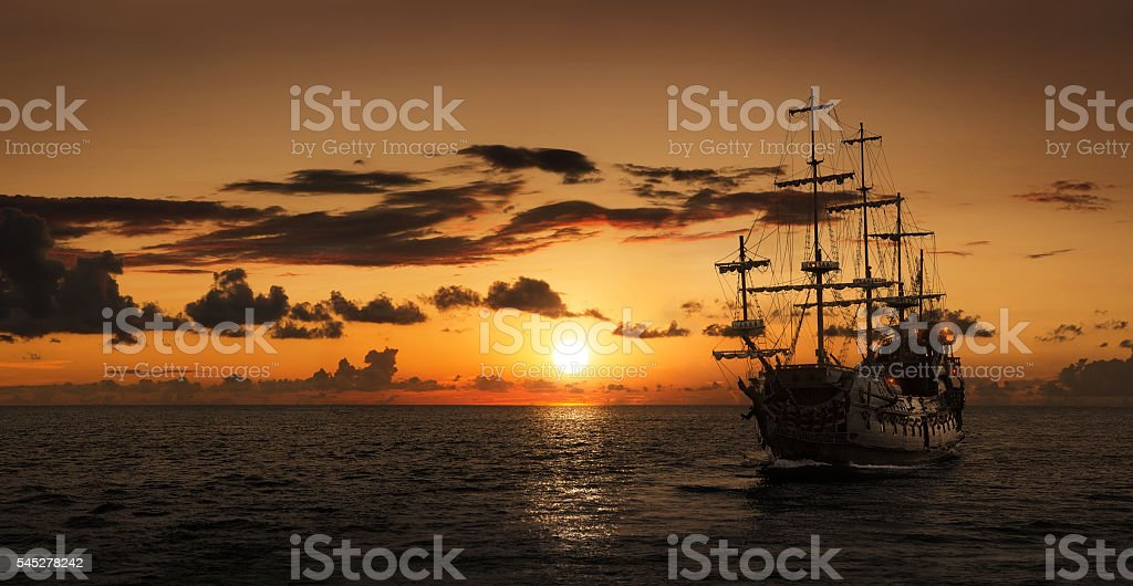 Pirate ship silhouette royalty-free stock photo
