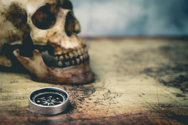 pirate skull and compass on vintage map with copy space - pirates stock photos and pictures