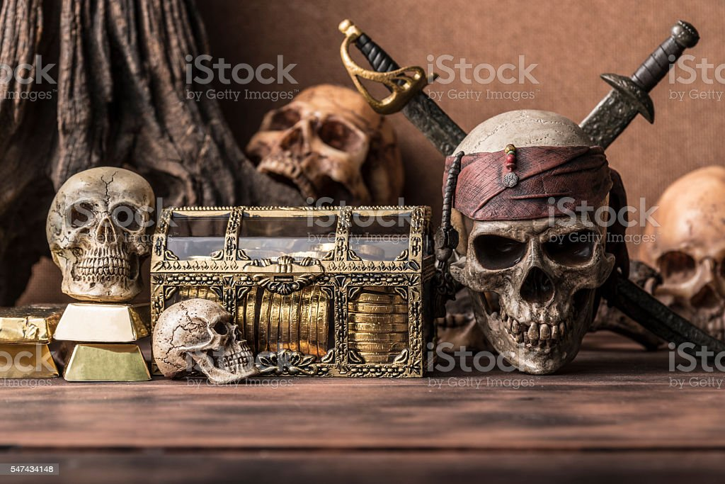 pirate skull concept still life style stock photo