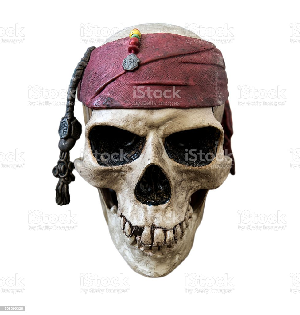 Pirate skull, isolated on white background stock photo