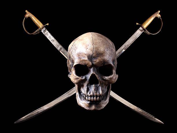 Piratas con cráneo swords cruzado - foto de stock