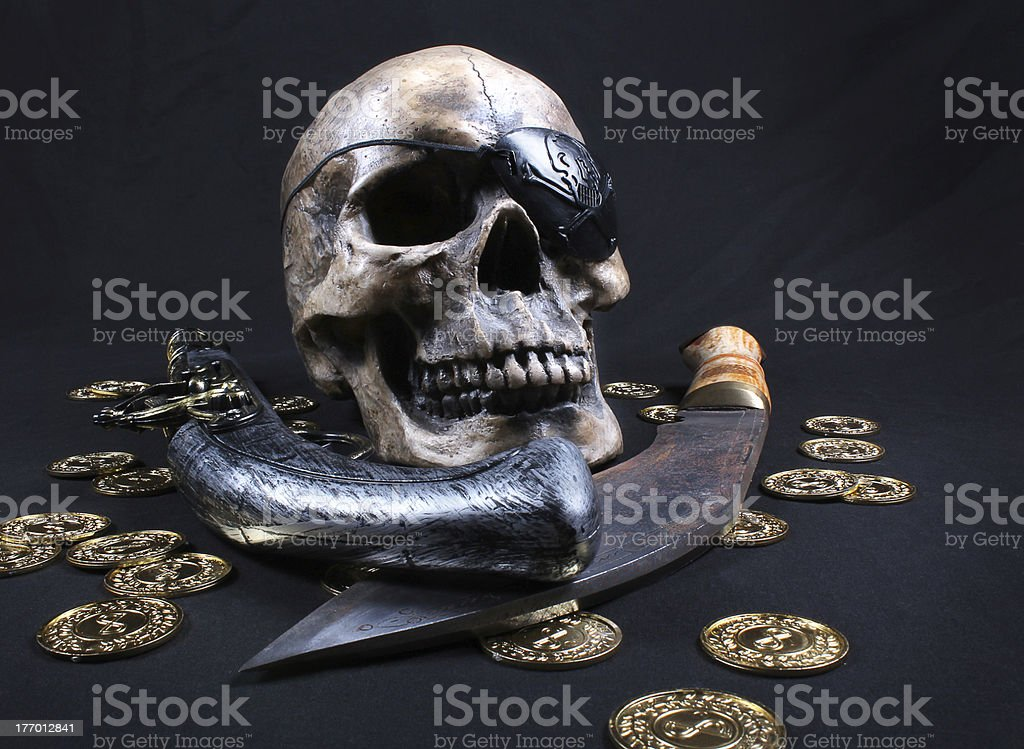 Pirate skull with weapons stock photo