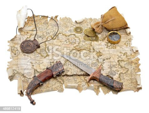 490314373 istock photo Pirate still life with map 489812419