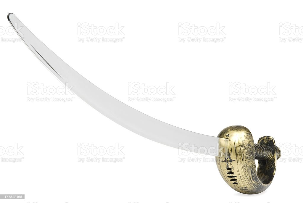 Pirate sword or cutlass on white background. Clipping path included. stock photo