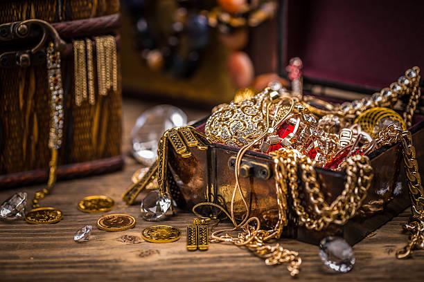Pirate treasure chest stock photo