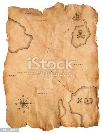 istock Pirate treasure map 157295802