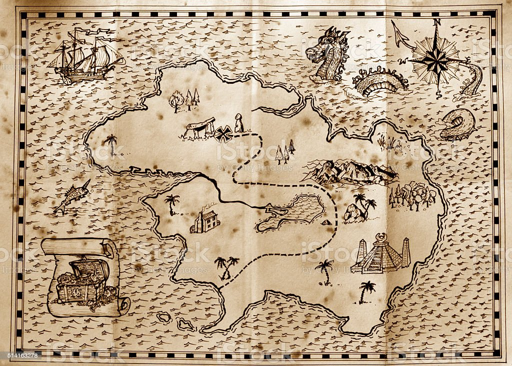 Pirate treasure map stock photo
