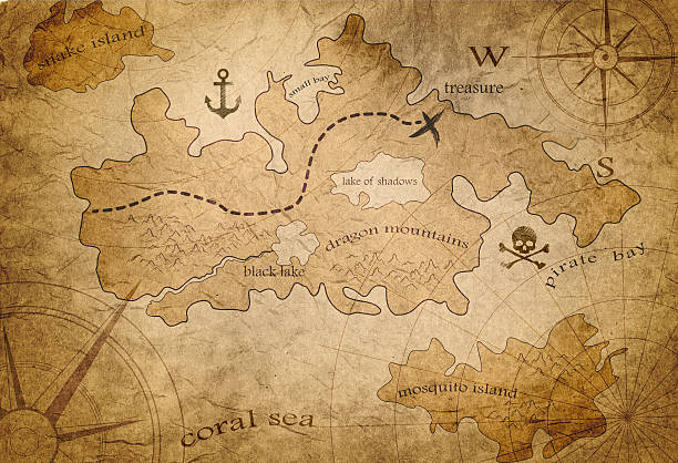 pirate treasure map - pirates stock photos and pictures