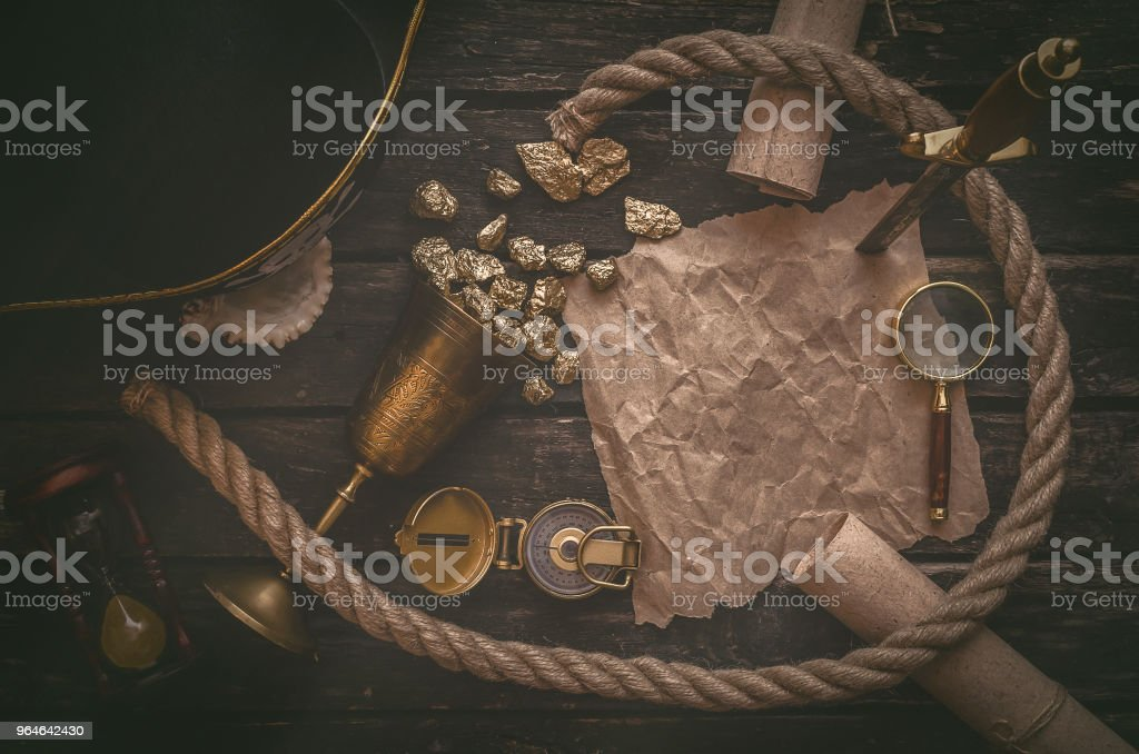 Pirate treasure map. Travel. Adventurer concept. royalty-free stock photo