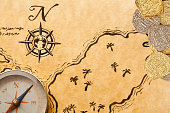 Pirate Treasure Map with Doubloons