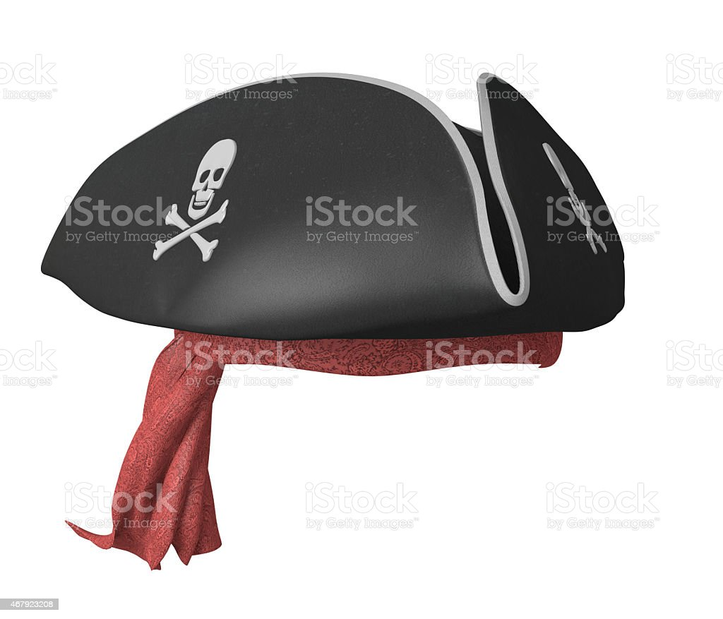 Pirate tricorn hat with skulls and a red bandana stock photo
