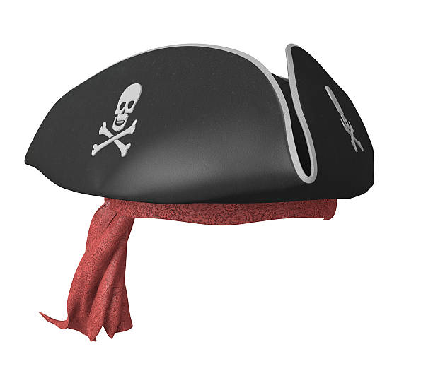 Pirate tricorn hat with skulls and a red bandana Realistic render of a black pirate captain's hat and a patterned bandana. pirate criminal stock pictures, royalty-free photos & images