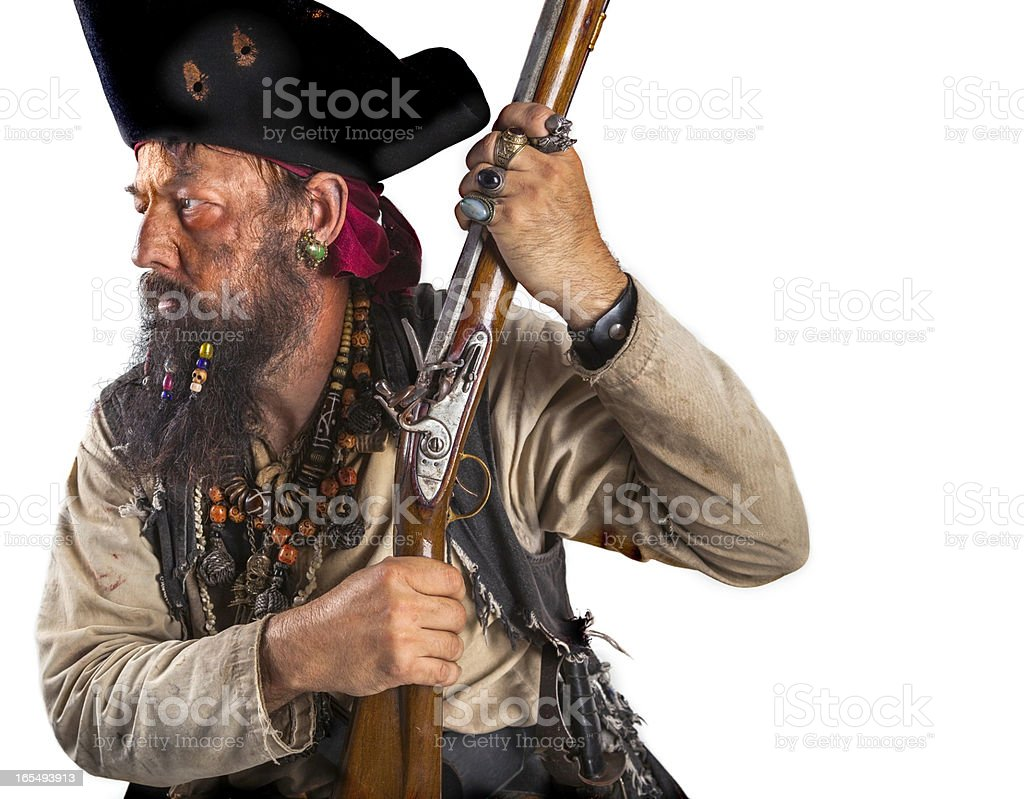 Pirate with a musket royalty-free stock photo