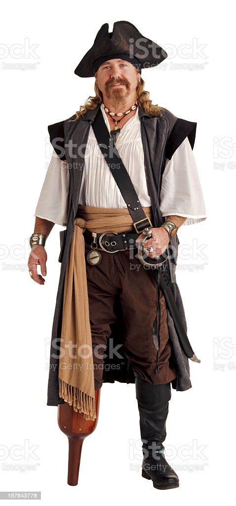 Pirate with a Wooden Pegleg. Isolated on White. stock photo