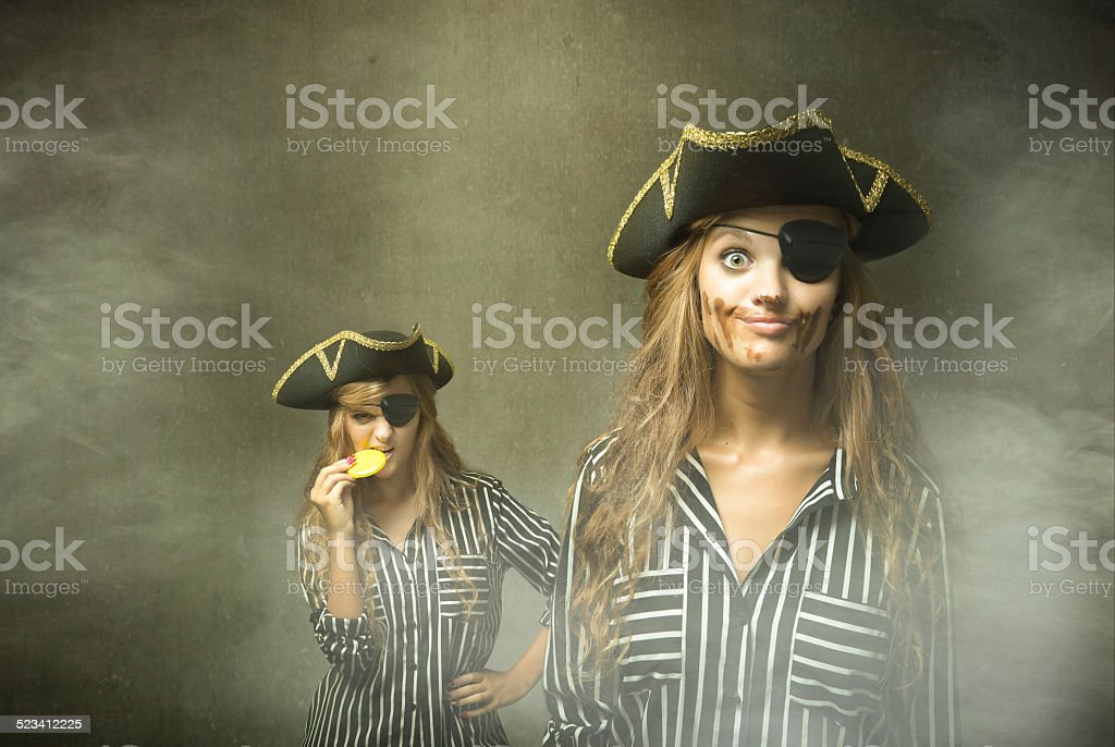 pirate with dirty chocolate face after eating a dobloon stock photo