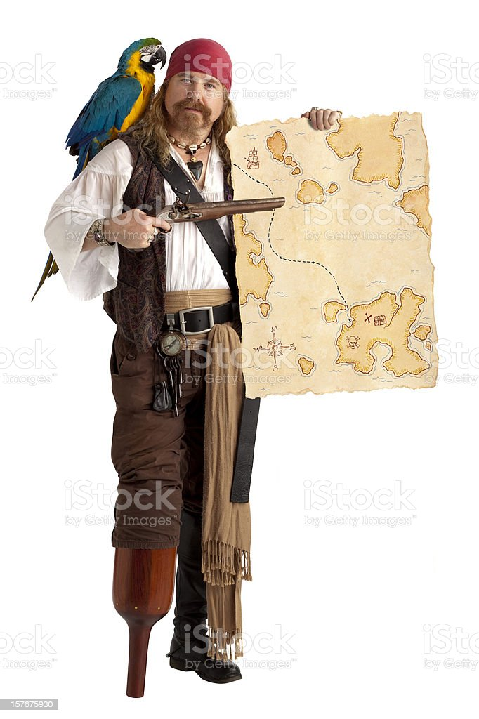 Pirate with Treasure Map, Isolated on White. royalty-free stock photo