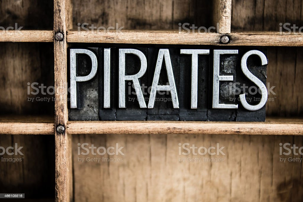Pirates Concept Metal Letterpress Word in Drawer stock photo