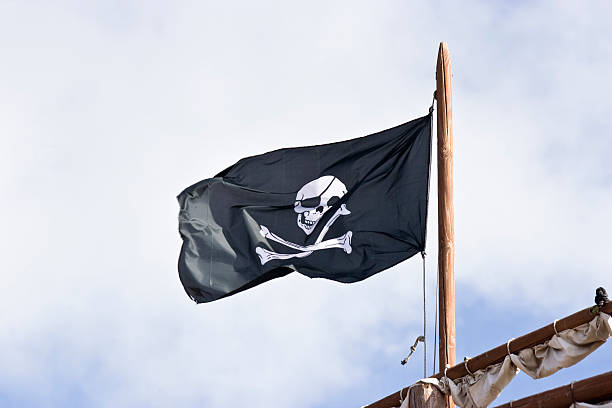 pirates flag - swashbuckler stock photos and pictures