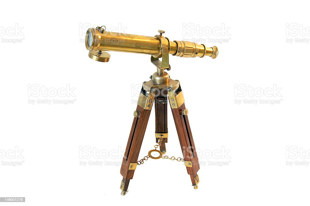 Pirate's monocular lens on tripod royalty-free stock photo
