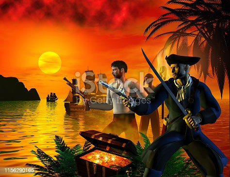 Pirates searching for the treasure in the bay, 3d illustration