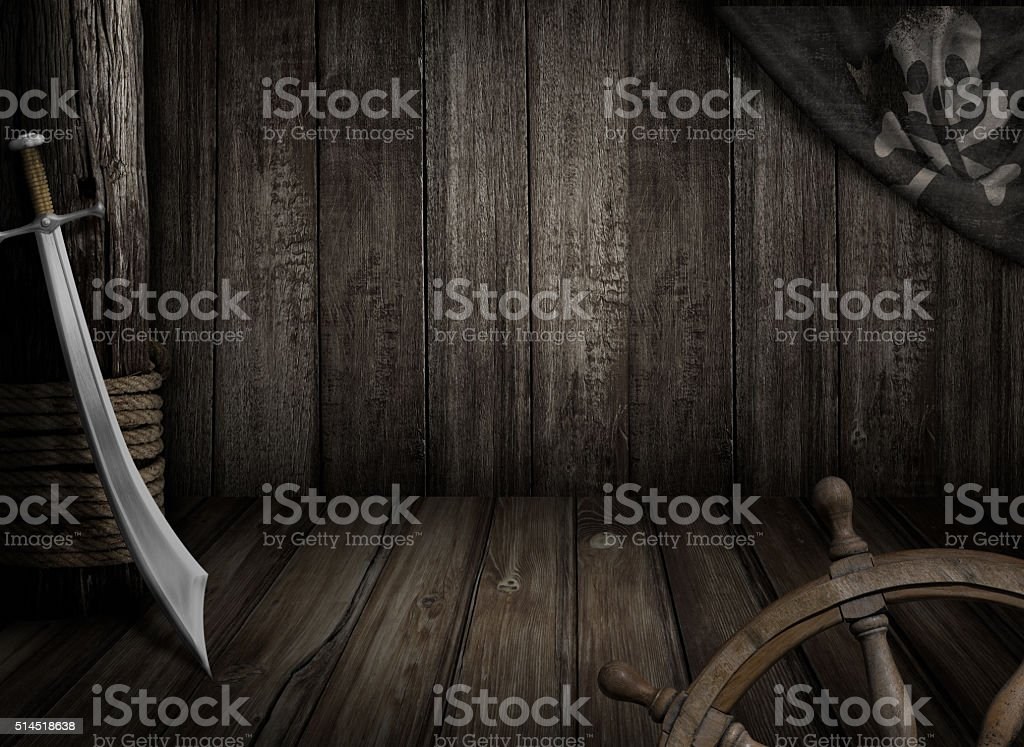 Pirates ship background with old jolly roger flag and saber stock photo