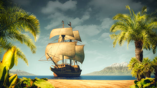Pirates ship near the tropical island stock photo