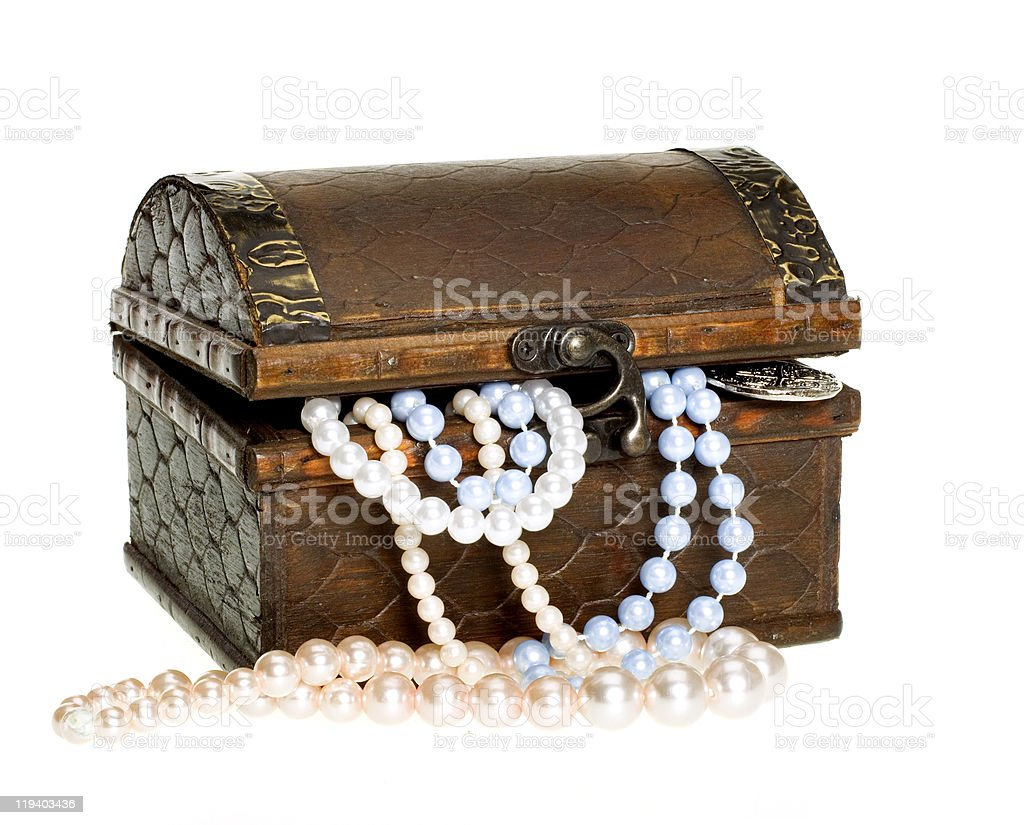 Pirate's Treasure Chest with Pearls, Gold Coin royalty-free stock photo