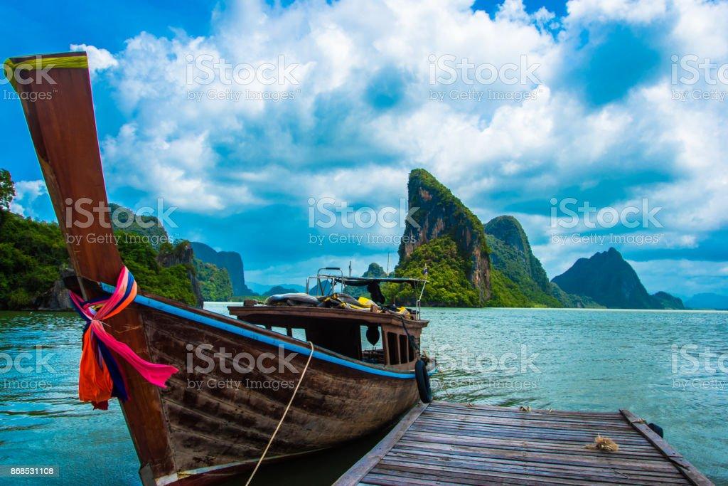 Pirogue in Thailand at James Bond Island stock photo
